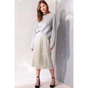 UO Kimchi Blue Alexis Shimmer Pleat Midi Skirt